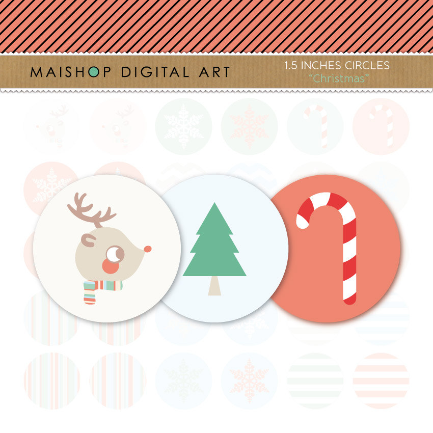 "1.5"" Digital Collage Sheet Circles - Christmas"