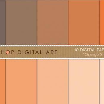 Digital Papers Orange Shades 12x12 inches - INSTANT DOWNLOAD - Buy Any 2 Packs Get 1 Free