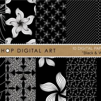Digital Papers - Black & White 12x12 inches - INSTANT DOWNLOAD - Buy Any 2 Packs Get 1 Free