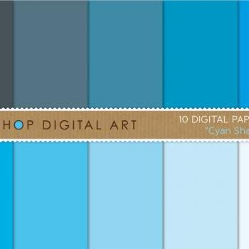Digital Papers Cyan Shades 12x12 inches - INSTANT DOWNLOAD - Buy Any 2 Packs Get 1 Free