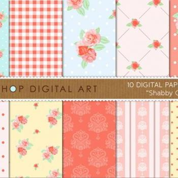 Digital Papers - Shabby Chic