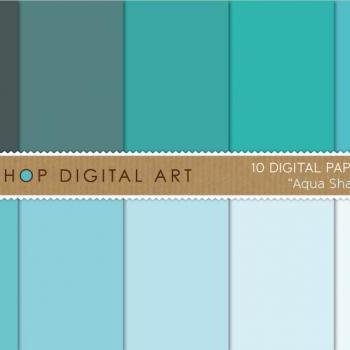 Digital Papers Aqua Shades 12x12 inches - INSTANT DOWNLOAD - Buy Any 2 Packs Get 1 Free