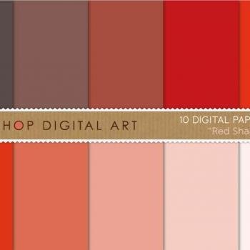 Digital Papers Red Shades 12x12 inches - INSTANT DOWNLOAD - Buy Any 2 Packs Get 1 Free